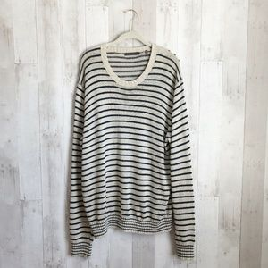 [Vince] Striped Linen Crewneck Ribbed Cuff Sweater